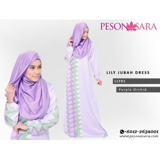 LILY Motif Jubah Dress | Purple Orchid